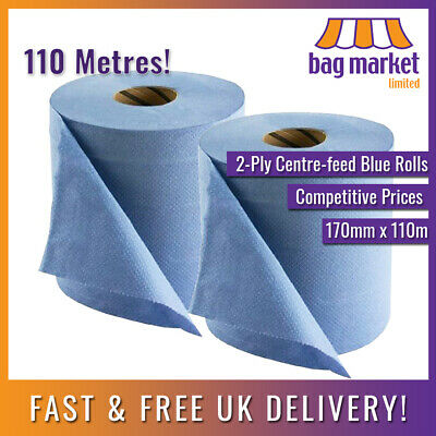 2 Rolls x Large 180mm x 110m Blue 2-Ply Centre-feed! | Paper Towel/Gym/Tissue