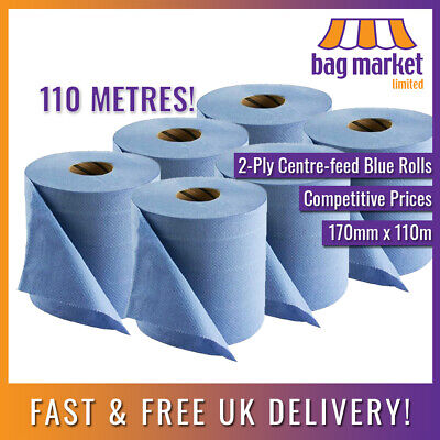 6 x Large 180mm x 110m Blue 2-Ply Centre-feed Rolls! | Paper Towel/Gym/Tissue