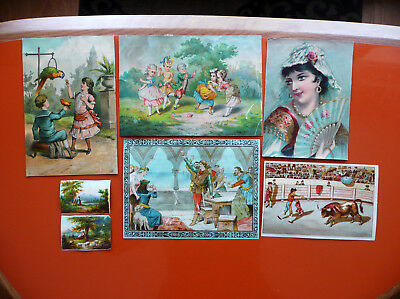 Lot 7 Chromolithographies Anciennes Themes Divers