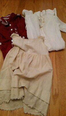 Lot 3 Pieces Vintage Antique Baby Infant Clothing 2 Piece Romper Gown Wool Slip