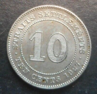 Straits Settlements  1927  KGV 10 Cent silver  Coin  XF+ Nice