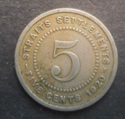 Straits Settlements 1920 KGV 5 Cent   Coin