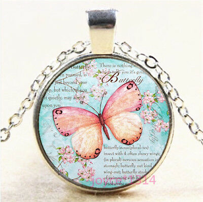 Butterfly Cabochon Silver/Bronze/Black/Gold Glass Chain Pendant Necklace #7297