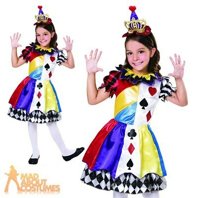 Freaky Clown Halloween Scary Circus Performer Childs Girls Fancy Dress Costume