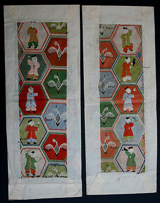 Pair Antique Chinese Silk  Robe Embroidery Textile