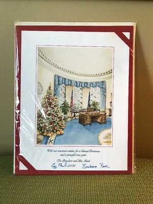 K) 1990 President George H.W. Barbara Bush Official White House Christmas Card