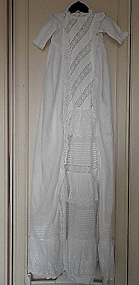 "VINTAGE 43"" LONG BABIES CHRISTENING GOWN with  BRODERIE ANGLAISE DETAIL"