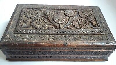 ANTIQUE/ VINTAGE OLD WOODEN CARVED SOWING BOX (with damage)