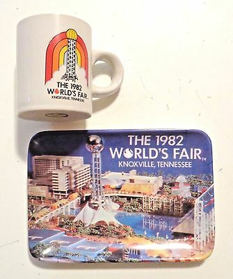Vintage 1982 WORLD'S FAIR Knoxville Tennessee CUP & TRAY Lot of Souvenirs