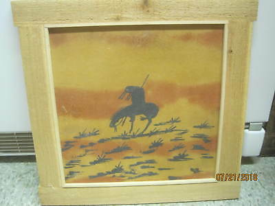 Vintage Original Art Sand Painting on board Navajo End of the Trail