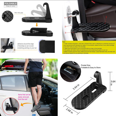 Car Doorstep Foot Pedal Access to Roofftop+ Safety Hammer Black Universal