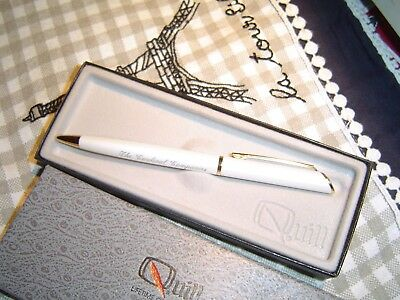 Quill  White pearl  ballpoint pen  w/  case The Cardinal Companies  vintage nice