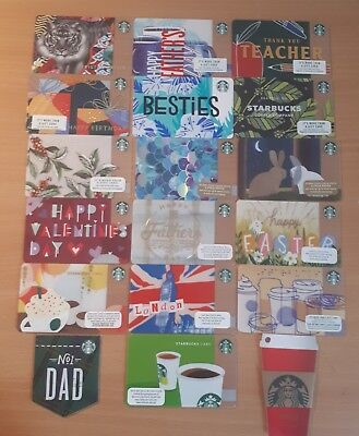 Rare 18 starbucks cards from US, UK, Canada and Germany
