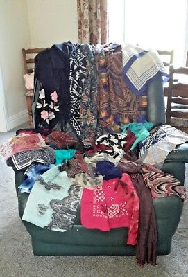 Job Lot Of 30 plus  Ladies VINTAGE RETRO AND MODERN SCARVES