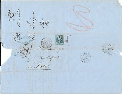 French Cover with Letter on Blue Paper, 1869