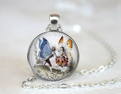 Dancing Fairy Couple Tibetan silver Dome Glass Art Chain Pendant Necklace