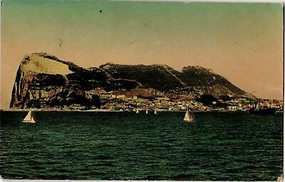 Rock of Gibraltar from Spanish Coast (1953) Sailing Boats