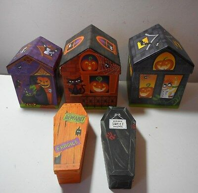Lot NEW unique Halloween stacking storage boxes houses coffins mad scientist SEE