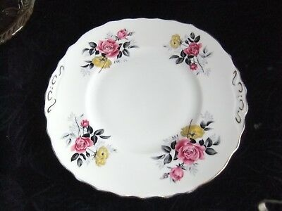 Royal Vale Pretty Pink & Yellow Roses Cake Plate Vintage Shabby Chic vgc