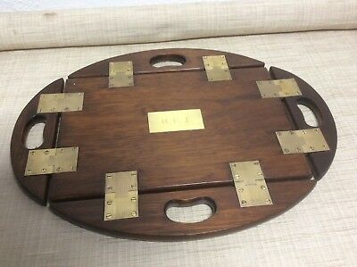 Vintage Mahogany Butler's Tray with Brass Hinges