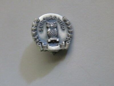 Vintage Sterling Silver Award Pin for Scholarship with Owl & Wreath