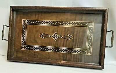 Iron Cross Wooden Inlaid Tray Glass Top Vintage