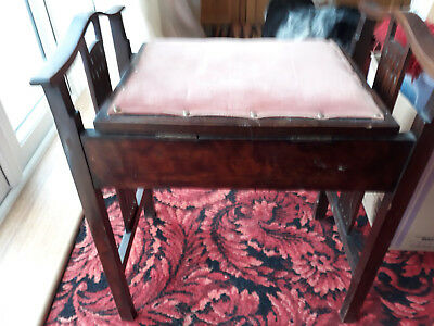 Vintage Antique Piano Stool With Storage.dark wood with ornate arms.good condit