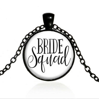 Bride Squad Black Dome glass Photo Art Chain Pendant Necklace