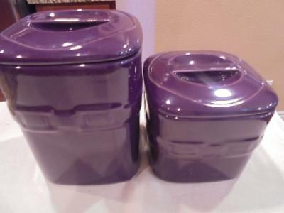 Longaberger Woven Traditions 2 Eggplant purple canisters mint condition low ship