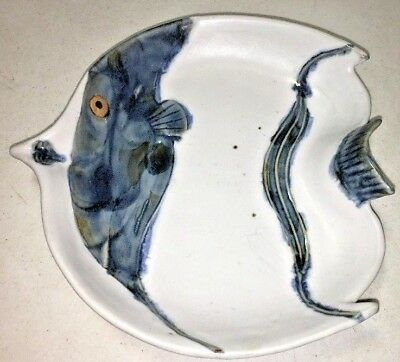 """Rare Hand Painted Pottery Angel Fish Story Serving Platter Wall Hanging Plate 9"""""""