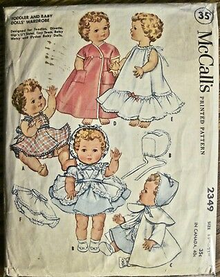 """Vtg 1959 McCall's Toddler and Baby Dolls Wardrobe Pattern Sz 19""""-21"""" Tiny Tears"""