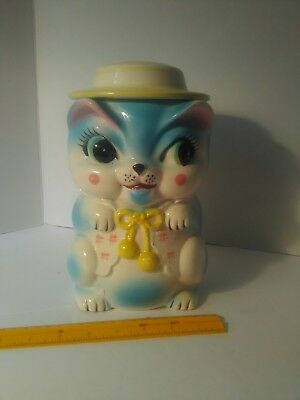 Vintage cookie jar, cat with a hat. Made in Japan. No cracks or chips