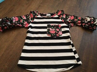 Toddler Striped Floral Ruffled Raglan Small (2-3)