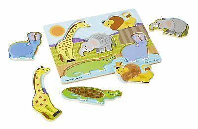 Zoo Animals Touch and Feel wooden jigsaw Puzzle - Melissa and Doug 14328