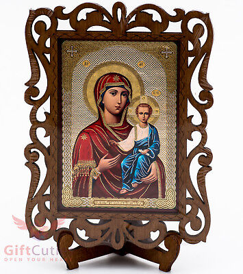 Virgin Mary Jesus Our Lady of Smolensk Russian Orthodox Icon Wood Cмоленская Б.М