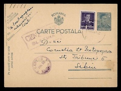 Dr Who 1942 Romania Postal Card Uprated Stationery Censored C38986