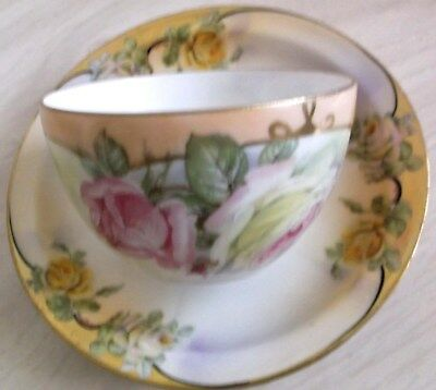 ANTIQUE ROYAL RUDOLSTADT PRUSSIA VICTORIAN Cup Saucer Hand Painted Gold Trim