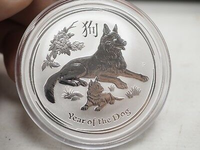 Australia 2018 Year of the dog  .9999 Silver Coin 2 OZ