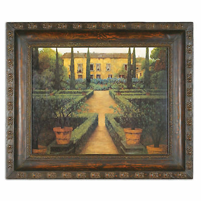 Antique Style Victorian Mansion Painting | English Garden Manor Ornate Frame