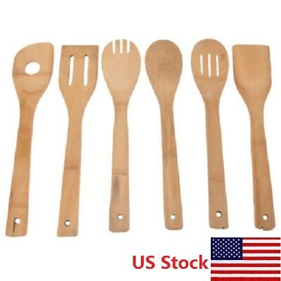 6pcs Bamboo Utensil Kitchen Wooden Cooking Tools Spoon Spatula Mixing Home US