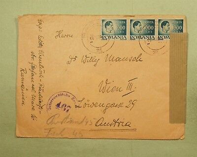 DR WHO 1947? RADAUTI ROMANIA CANCEL STRIP TO AUSTRIA CENSORED  d37266