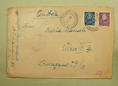 DR WHO 1950 RADAUTI ROMANIA CANCEL TO AUSTRIA CENSORED  d37267