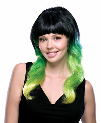Lime Delight Wig Black Green Yellow Flame Long Clown Costume Accessory St. Pat's