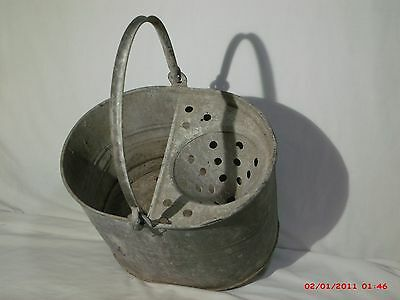 Vintage galvanized shabby chic industrail mop bucket built in funnel ringer