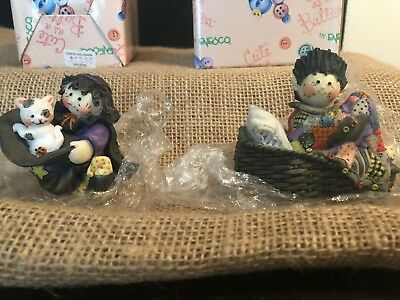 2 Enesco Calico Kittens Cute as a Button Witch & Dracula 1996 New in Boxes