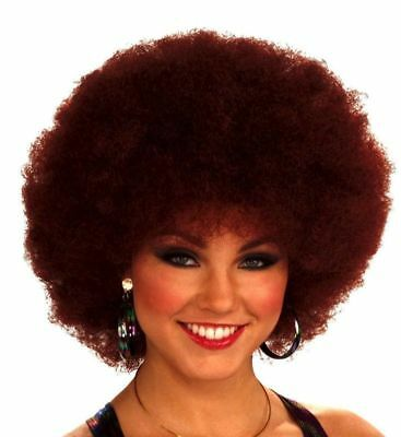 Deep Red Afro Wig Clown Burgundy Disco Hot Costume Accessory Curly Retro Groovy