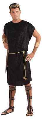 Black Men's Tunic with Gold Rope for Adult Viking Roman Soldier Peasant Medieval