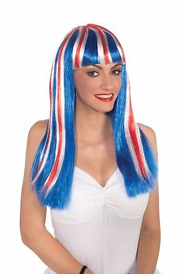 Patriotic Wig Adult Women Red White Blue 4th July American Costume Accessory