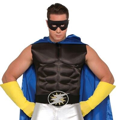 Adult Super Hero Black Belt Lightening Bolt Men Women Costume Accessory