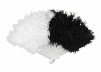 Marabou Black White Fan with Feathers Women's Geisha Asian Costume Accessories